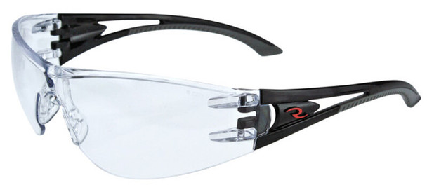 Radians Optima Safety Glasses with Black Frame and Clear Anti-Fog Lens