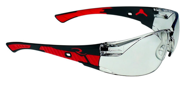 Radians Obliterator Safety Glasses with Black/Red Frame and Indoor-Outdoor Lens