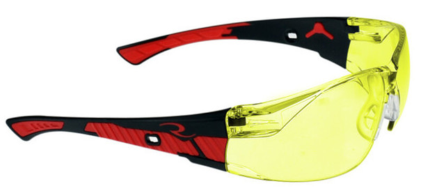 Radians Obliterator Safety Glasses with Black/Red Frame and Amber Lens