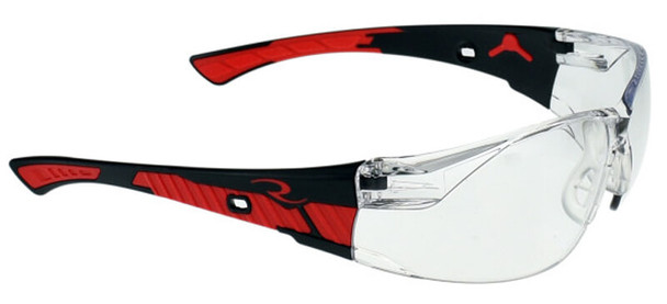 Radians Obliterator Safety Glasses with Black/Red Frame and Clear Lens