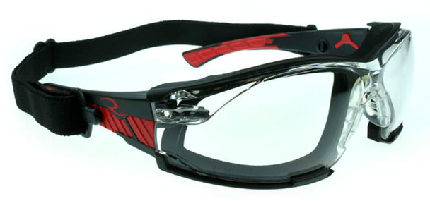 Radians Obliterator Foam-Lined Safety Glasses with Black/Red Frame and Clear IQUITY Anti-Fog Lens - with Strap