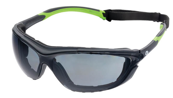 Encon Veratti Primo Foam-Padded Safety Glasses/Goggles with Gray/Green Frame and Gray Anti-Fog Lens