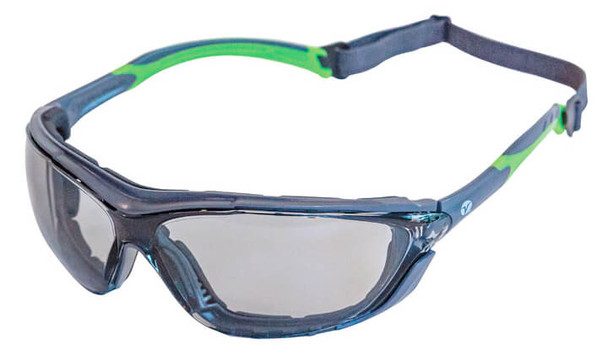 Encon Veratti Primo Foam-Padded Safety Glasses/Goggles with Gray/Green Frame and Light Gray Anti-Fog Lens