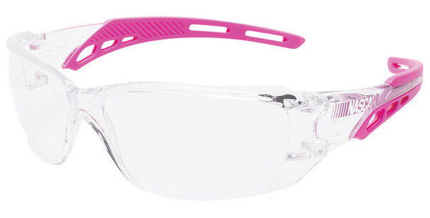 Encon NASCAR Brio Safety Glasses with Pink Frame and Clear Lens