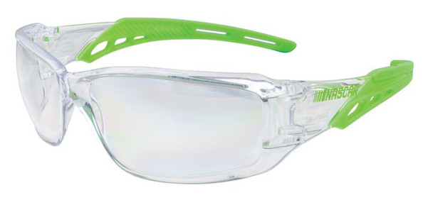 Encon NASCAR Brio Safety Glasses with Green Frame and Clear Lens