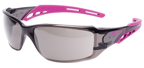 Encon NASCAR Brio Safety Glasses with Pink Frame and Gray Lens