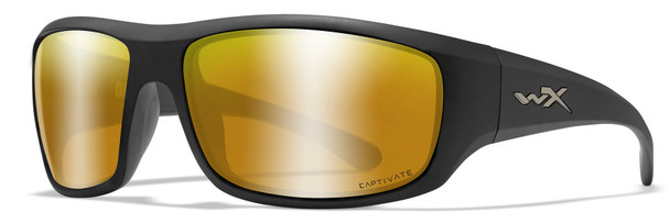 Wiley X Omega Safety Sunglasses with Matte Black Frame and Captivate Polarized Bronze Mirror Lens