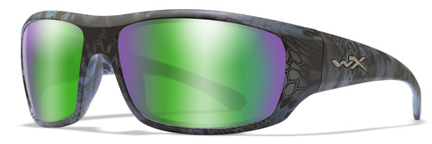 Wiley X Omega Safety Sunglasses with Kryptek Neptune Frame and Polarized Green Mirror Lens