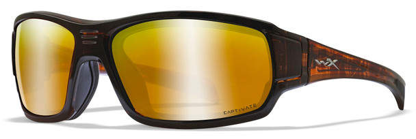 Wiley X Breach Safety Sunglasses with Matte Brown Frame and Captivate Polarized Bronze Mirror Lens