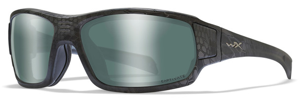 Wiley X Breach Safety Sunglasses with Kryptek Typhone Frame and Captivate Polarized Platinum Flash Lens