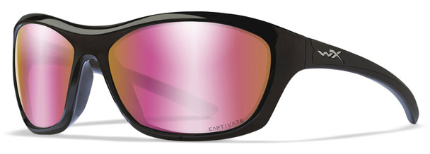 Wiley X Glory Safety Sunglasses with Gloss Black Frame and Captivate Polarized Rose Gold Mirror Lens