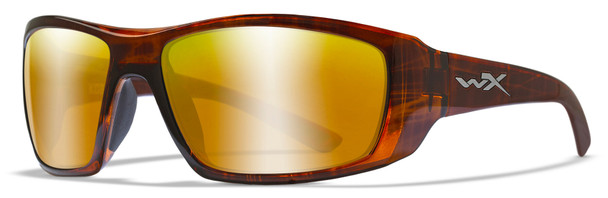 Wiley X Kobe Safety Sunglasses with Gloss Hickory Brown Frame and Polarized Venice Gold Mirror Lens