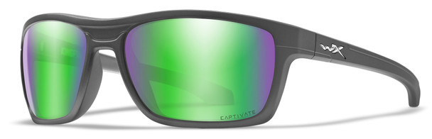 Wiley X Kingpin Safety Sunglasses with Matte Graphite Frame and Captivate Polarized Green Mirror Lens