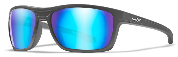 Wiley X Kingpin Safety Sunglasses with Matte Graphite Frame and Polarized Blue Mirror Lens