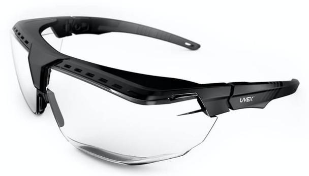 Uvex Avatar OTG Safety Glasses with Black/Black Frame and Clear Lens
