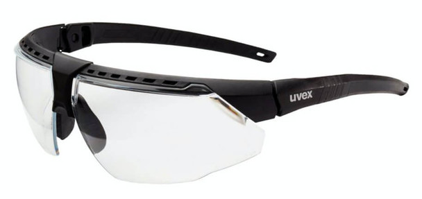 Uvex Avatar Safety Glasses with Black/Black Frame and Clear Hydroshield Anti-Fog Lens S2850HS