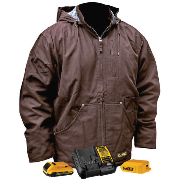 DeWalt DCHJ076ATD1 Unisex Heated Heavy Duty Work Coat Tobacco With Battery & Charger