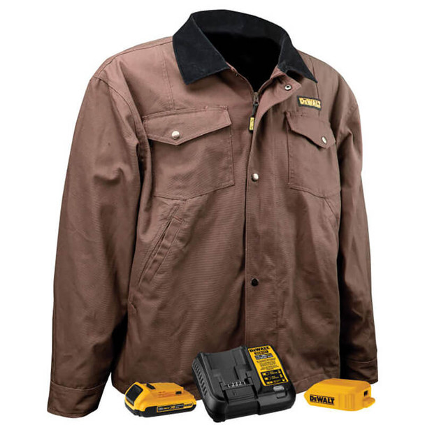 DEWALT Unisex Heated Barn Coat Tobacco With Battery & Charger