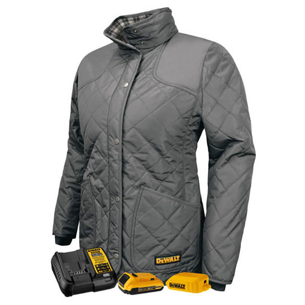 DEWALT Women's Flannel-Lined Quilted Charcoal Jacket With Battery & Charger