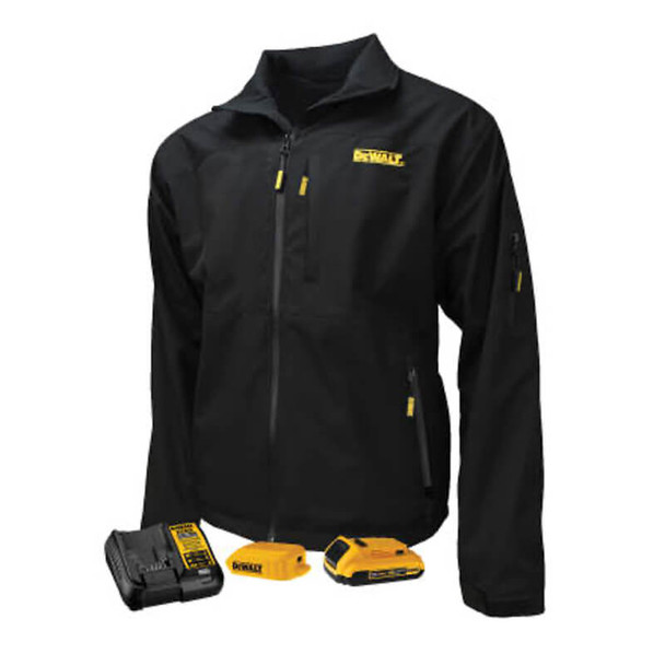 DEWALT Unisex Heated Structured Soft Shell Jacket Black With Battery & Charger