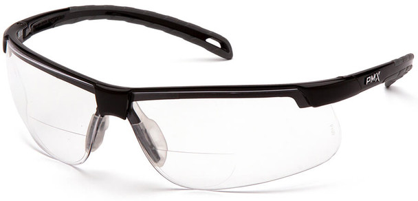 Pyramex Ever-Lite Reader Safety Glasses with Black Frame and Clear H2MAX Anti-Fog Lens