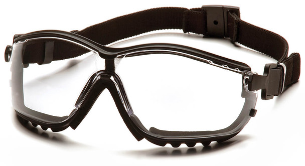 Pyramex V2G Safety Glasses/Goggles with Black Frame and Clear H2MAX Anti-Fog Lens GB1810STM