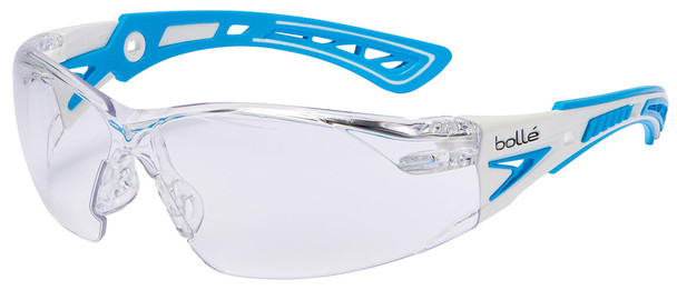 Bolle Rush Plus Small Safety Glasses with White/Blue Temples and Clear Platinum Anti-Fog Lens