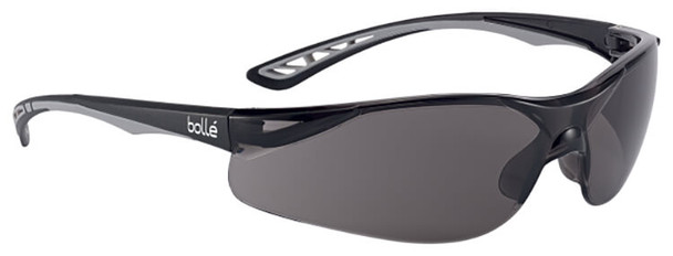 Bolle Iluka Safety Glasses with Black/Gray Temples and Smoke Anti-Fog Lens