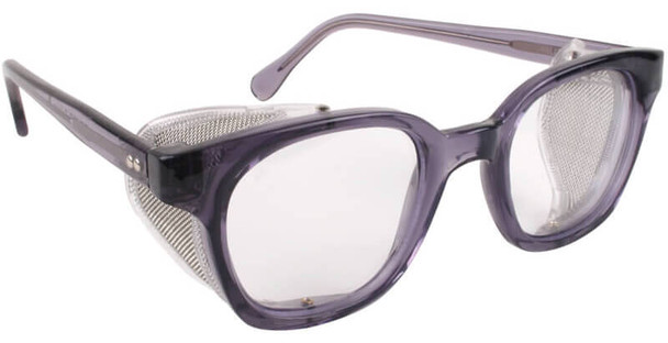 Bouton Traditional Safety Glasses with Translucent Smoke Frame, Wire Mesh Sideshields and Clear Anti-Fog Lens