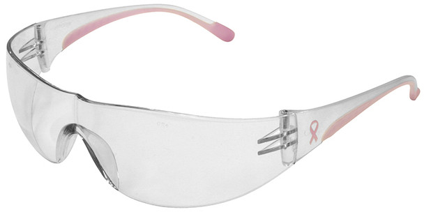 Bouton Eva Women's Safety Glasses with Pink Temple Trim and Clear Hard Coat Lens