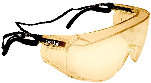 Bolle Override Safety Glasses Black Temples Yellow Anti-Fog Lens