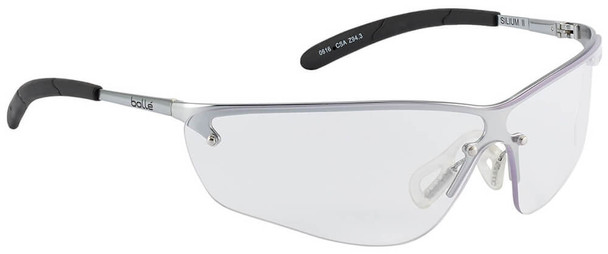 Bolle Silium Safety Glasses with Silver Frame and Clear Anti-Scratch and Anti-Fog Lenses