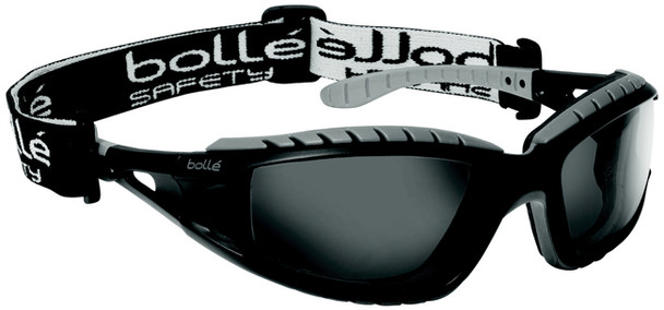 Bolle Tracker Safety Glasses with Black Frame and Smoke Anti-Scratch and Anti-Fog Lenses 40086