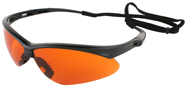 Jackson Nemesis Safety Glasses with Black Frame and Blue Shield Lens