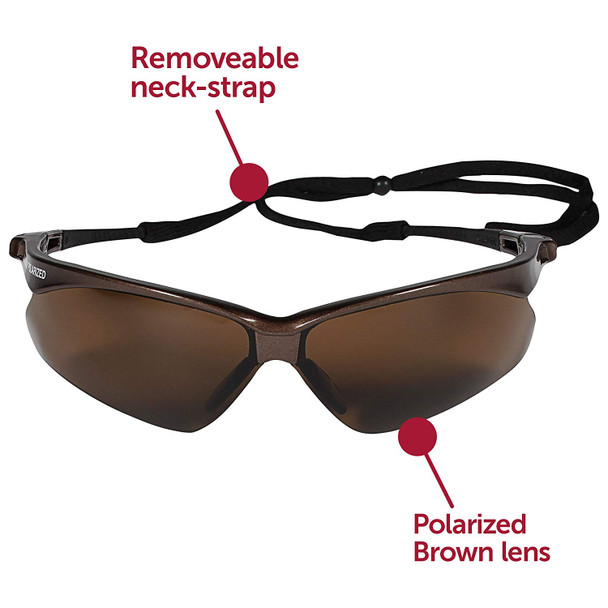 KleenGuard Nemesis Polarized Safety Glasses with Brown Frame and Brown Lens