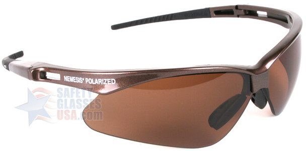 KleenGuard Nemesis Polarized Safety Glasses with Brown Frame and Brown Lens Right Side View