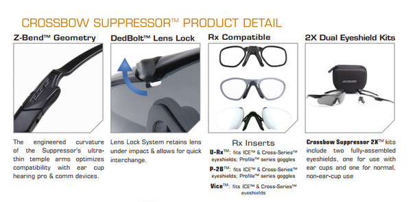 ESS Crossbow Suppressor Safety Glasses 2X+ Kit with Black Frames and Clear, Gray and HD Copper Lenses