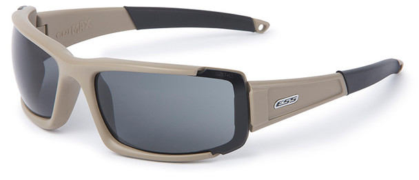 ESS CDI Max Ballistic Sunglasses with Terrain Tan Frame and Clear and Smoke Lenses