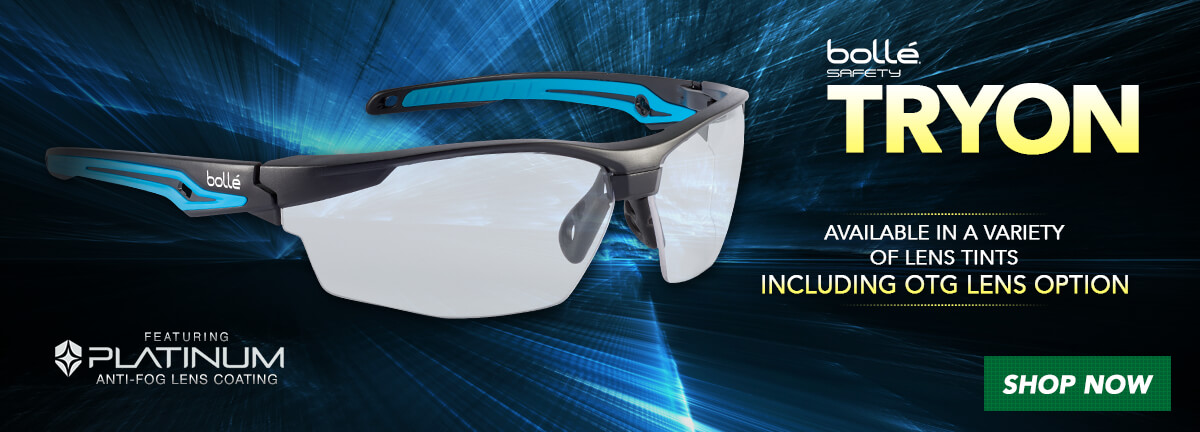 Enjoy fog-free eye protection with the new Bolle Tryon Safety Glasses line.