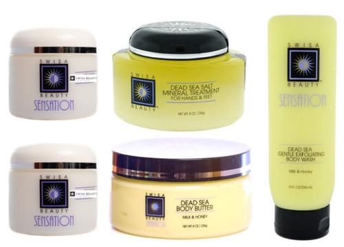 5 pcs Dead Sea Peeling-Exfoliate and Moisturizer Face and Body Set - Set Includes: Dead Sea Facial Peel + Face Firming Moisturizer + Salt Mineral Treatment + Gentle Exfoliating Body Wash + Body Butter.