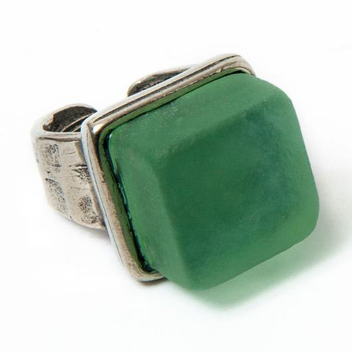 Glass Cube Ring Silver Pine