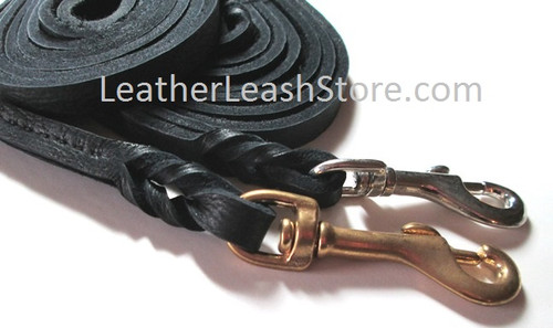 Black 7-8 Ft. Long Soft Bullhide Dog Leash Shown with Brass and Chrome Snap