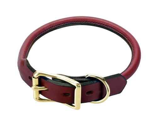 Rolled Leather Buckle Dog Collar