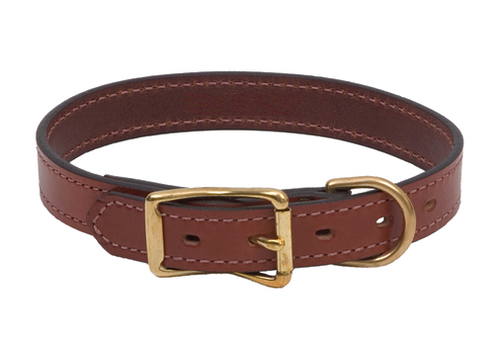 Brown Leather Buckle Dog Collar