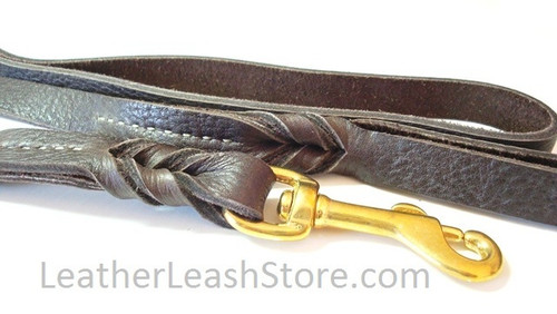"""Bullhide Leather Leash - 5/8"""" Chocolate Brown with Brass Snap"""