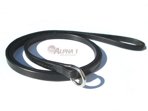 Bridle Leather Kennel Slip Lead in Black with Chrome Ring