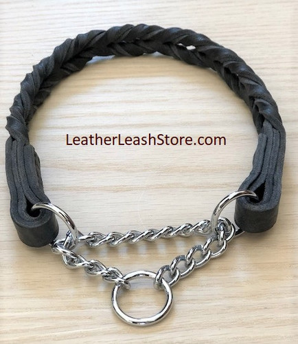 Black Braided Leather Martingale Dog Collar
