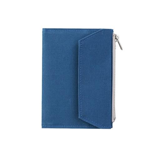 TRAVELER'S FACTORY - Paper Cloth Zipper - passport size - blue