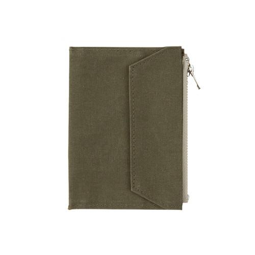 TRAVELER'S FACTORY - Paper Cloth Zipper - passport size - olive