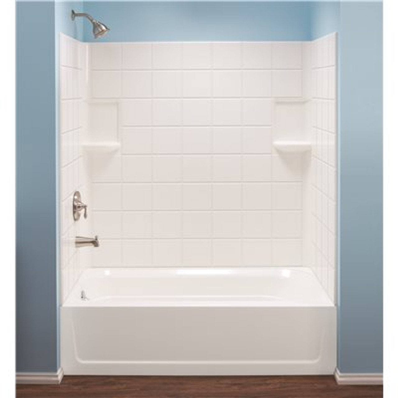 MUSTEE Topaz 30 in. x 60 in. x 59 in. 3-Piece Direct-to-Stud Tub Surround in White Item # 3557741|MUSTEE Part # 670WHT|UPC Code 671031005045|UNSPSC Code 30181507